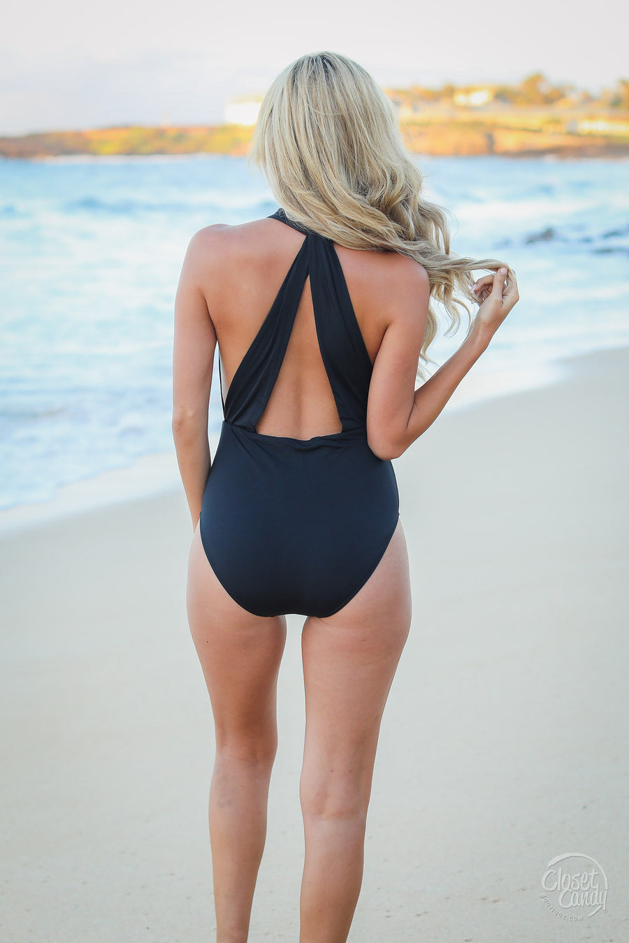 Beach Happy Swimsuit - Black - Trendy and cute One piece swim by Closet Candy Boutique - Closeup