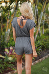 Beachy Keen Romper - Charcoal