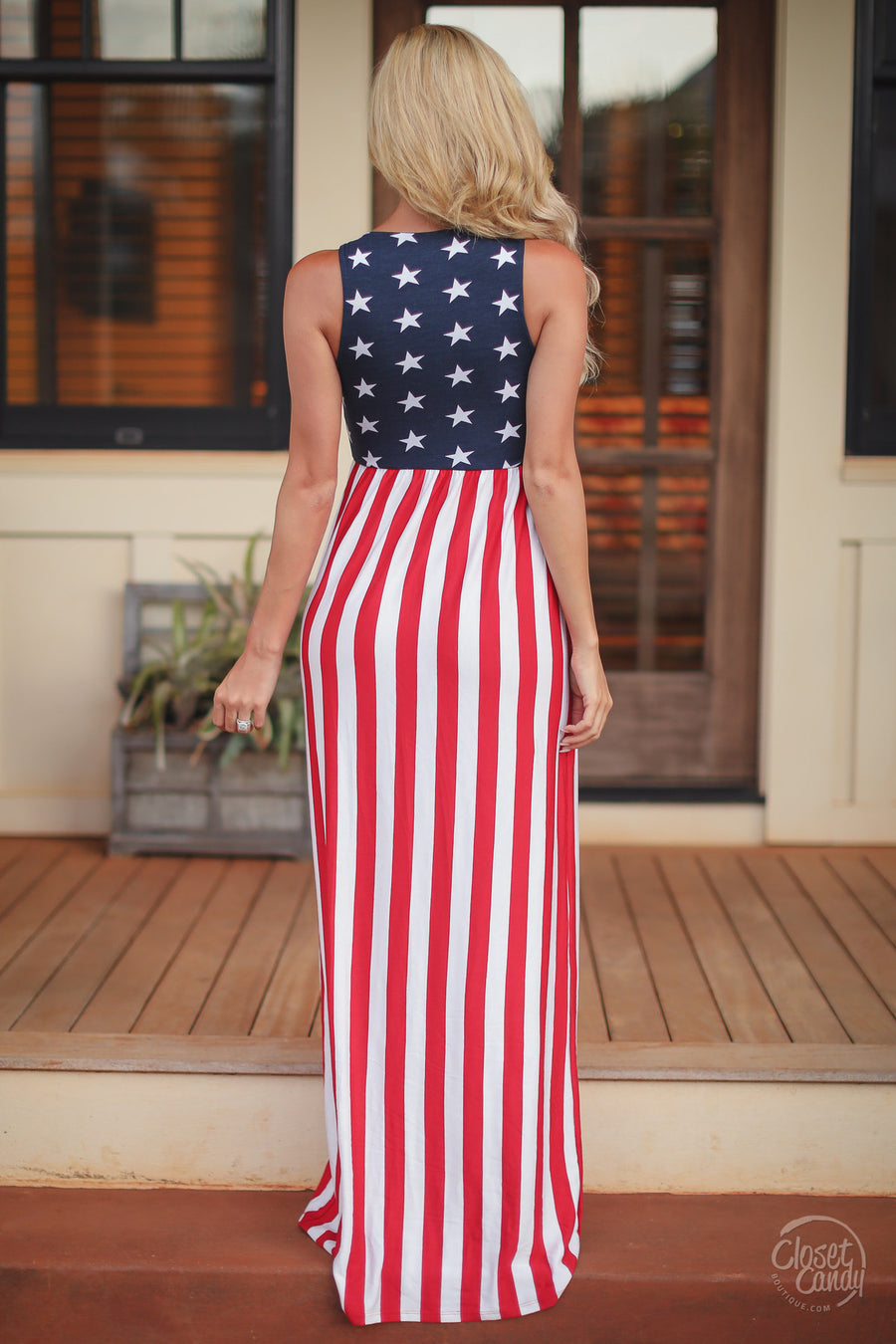 Closet Candy Boutique - 4th of July maxi dress, stars and stripes, red, white and blue outfit