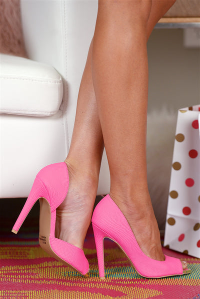 Hugs And Kisses Open Toe Heels - Neon Pink