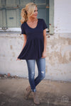 Remember When Top - Navy Closet Candy Boutique - cute flowy short sleeve top, spring and summer style 1