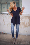 Remember When Top - Navy Closet Candy Boutique - cute flowy short sleeve top, spring and summer style, front 4