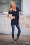 Remember When Top - Navy Closet Candy Boutique - cute flowy short sleeve top, spring and summer style, side 2