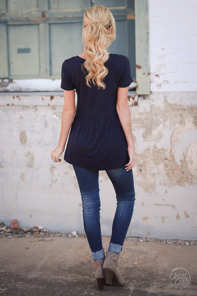 Remember When Top - Navy Closet Candy Boutique - cute flowy short sleeve top, spring and summer style, back 3