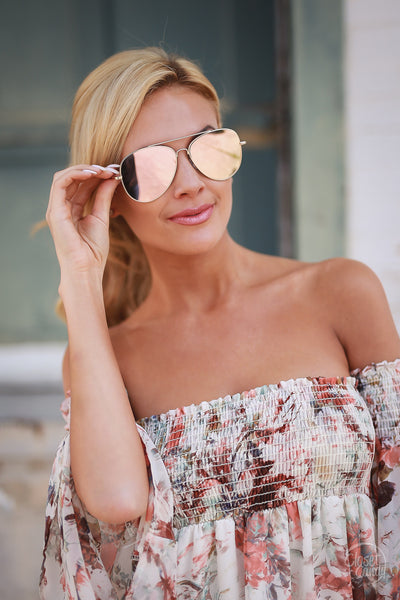 Under the Sun Aviator Sunglasses - cute mirror tint aviator sunglasses, Closet Candy Boutique 4