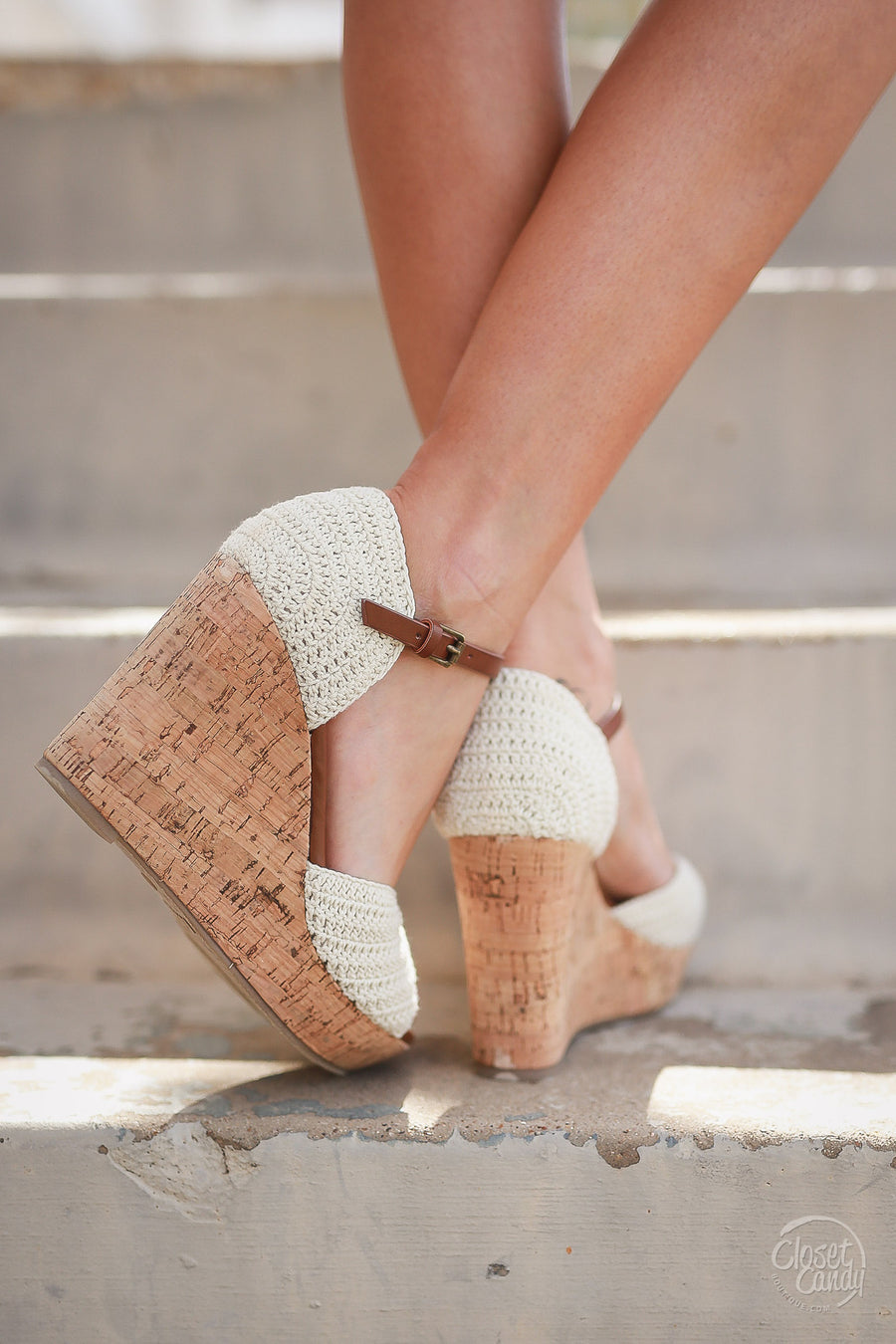 MIA Slow Dance Crochet Wedges - Cream
