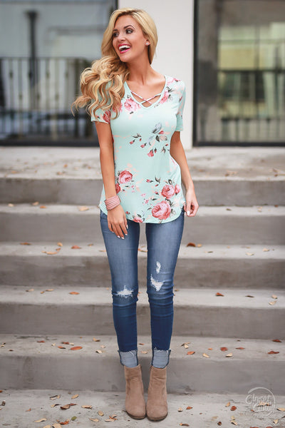 Countryside Cruise Floral Top - Mint