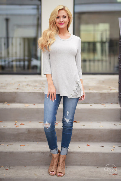 My Good Side Top - Heather Grey
