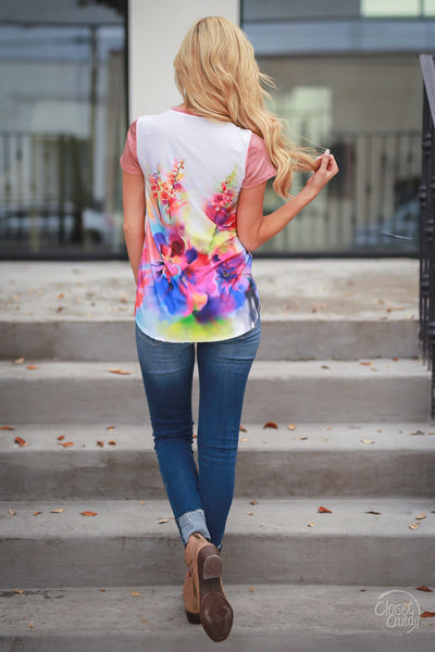 Had Me At Aloha Top - Coral womens bright floral back shirt closet candy boutique