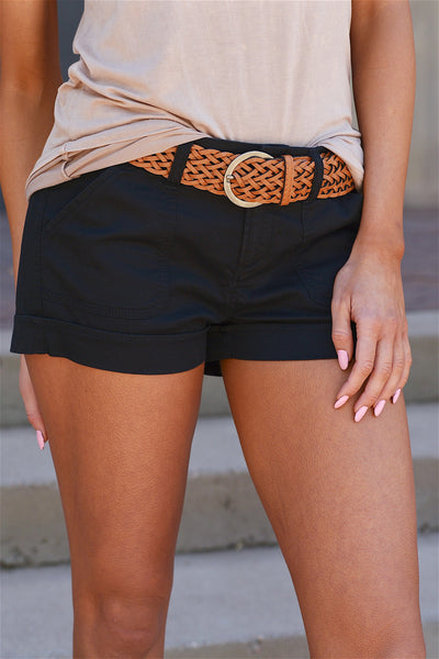 If Only Belted Shorts - Black braided belt shorts closet candy boutique
