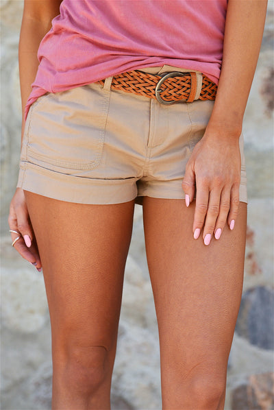 If Only Belted Shorts - Khaki - Closeup - Closet Candy Boutique
