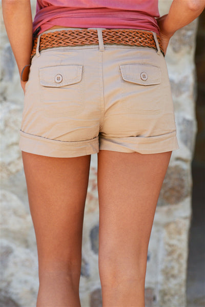 If Only Belted Shorts - Khaki - Closeup back view - Closet Candy Boutique