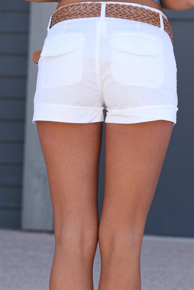 If Only Belted Shorts - White