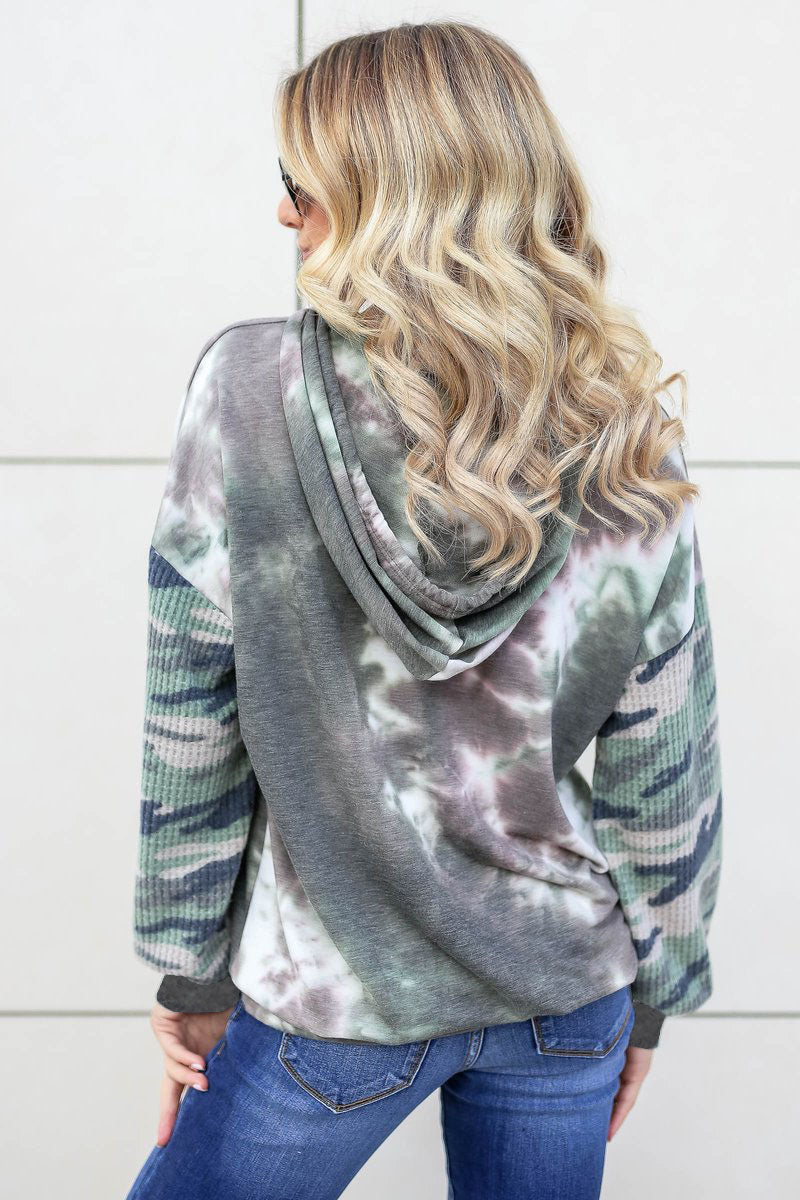 Mix It All Together Hooded Top - Army Green closet candy women's trendy tie dye hoodie with camo waffle knit contrast sleeves front