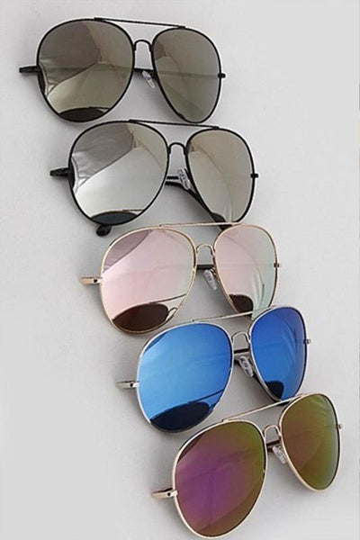 In The Shade Aviator Sunglasses - Assorted Colors womens trendy mirrored aviator sunglasses closet candy flatlay