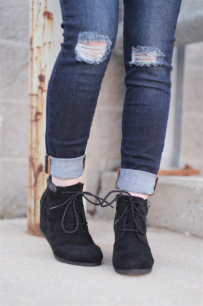 Just My Type Wedge Booties