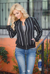 Keeping Score Striped Bomber Jacket - Black