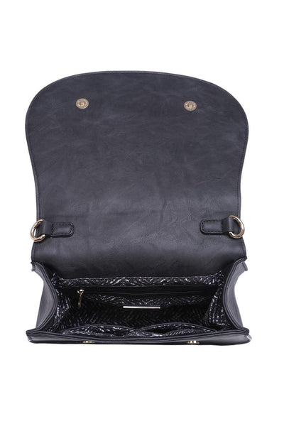 Khloe Saddle Bag Large - Black vegan leather saddle bag with stitched trim, interior, Closet Candy Boutique