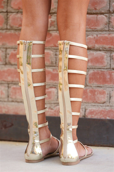 Too Fierce For Words Gladiator Sandals - Gold