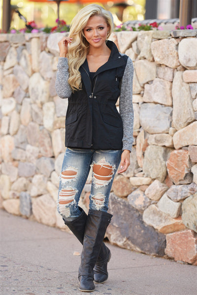 When I'm With You Hooded Jacket - cute black and grey hooded jacket, outfit view, Closet Candy Boutique 3