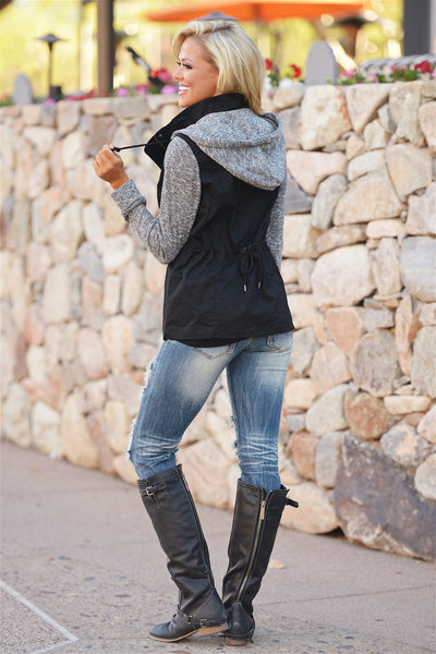 When I'm With You Hooded Jacket - cute black and grey hooded jacket, back view, Closet Candy Boutique 4