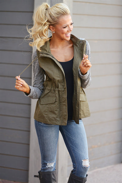 When I'm With You Hooded Jacket - cute olive contrast zip up jacket with hood, front, Closet Candy Boutique 5
