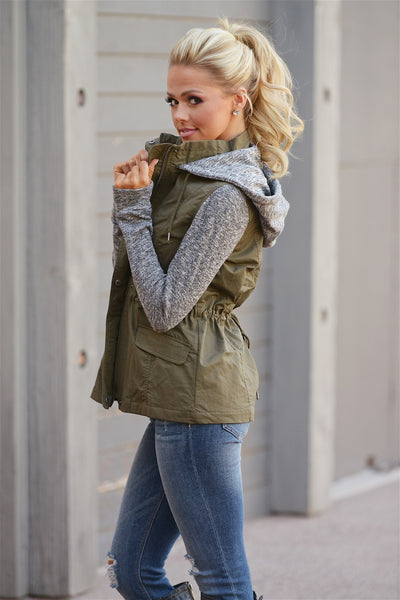 When I'm With You Hooded Jacket - cute olive contrast zip up jacket with hood, side, Closet Candy Boutique 4