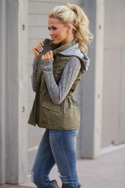 When I'm With You Hooded Jacket - cute olive contrast zip up jacket with hood, side, Closet Candy Boutique 1