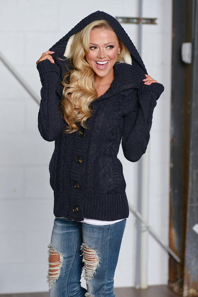 Waiting For You Hooded Sweater - cute trendy navy knit sweater, front view, Closet Candy Boutique 3