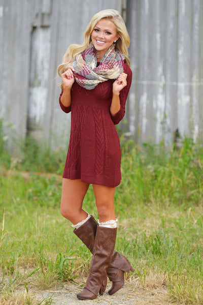 Meeting The Parents Sweater Dress - Burgundy