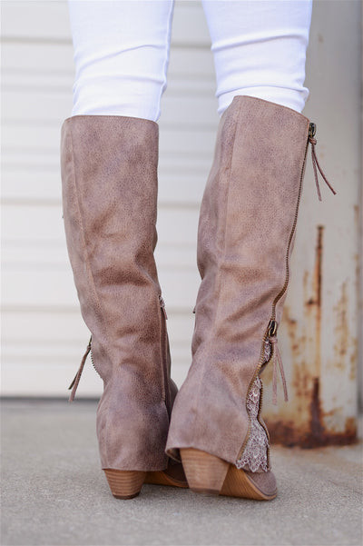 More To The Story Boots - cute taupe leather boots with lace accent, back, Closet Candy Boutique