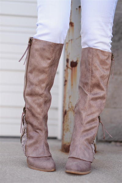 More To The Story Boots - cute taupe leather boots with lace accent, front, Closet Candy Boutique