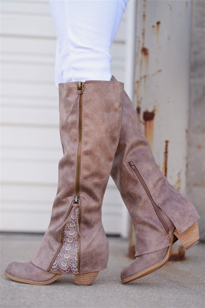 More To The Story Boots - cute taupe leather boots with lace accent, side, Closet Candy Boutique