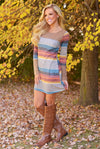 Laughter Is Contagious Dress - colorful stripe long sleeve shift dress, side, Closet Candy Boutique
