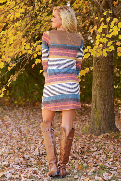 Laughter Is Contagious Dress - colorful stripe long sleeve shift dress, back, Closet Candy Boutique