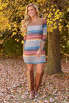Laughter Is Contagious Dress - colorful stripe long sleeve shift dress, front, Closet Candy Boutique