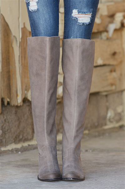 Naughty Monkey Grab Over The Knee Boots - Taupe