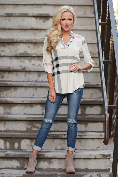 Office Hours Plaid Top - cute beige plaid top, fall outfit, Closet Candy Boutique