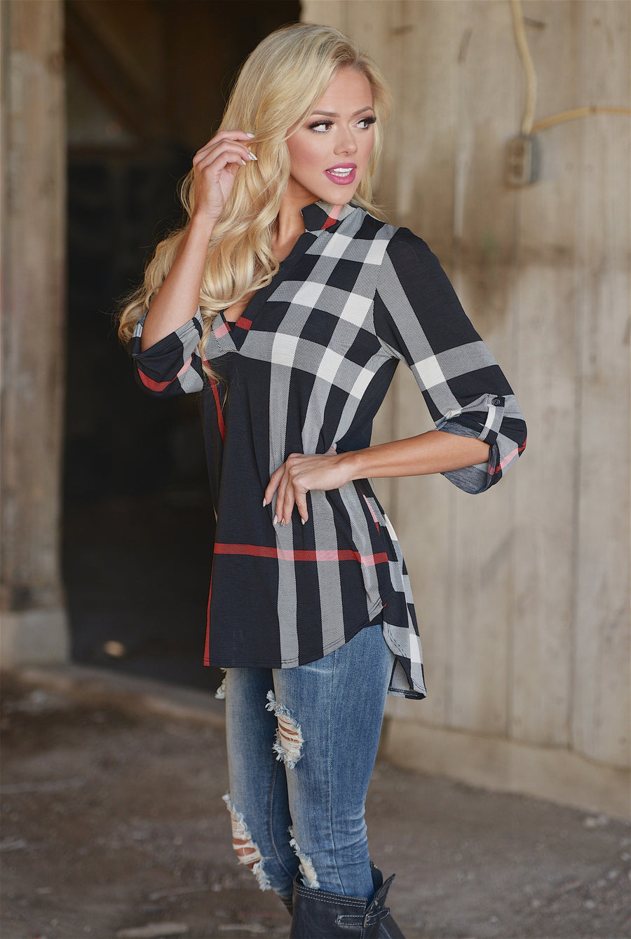 Office Hours Plaid Top - cute black plaid top, front, Closet Candy Boutique