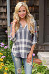 Office Hours Plaid Top - grey plaid v-neck top, cute fall outfit, Closet Candy Boutique