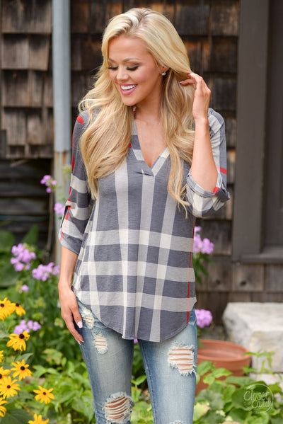 Office Hours Plaid Top - Grey