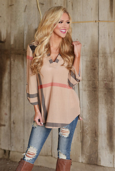 Office Hours Top - cute mocha plaid top, front, fall outfit, Closet Candy Boutique