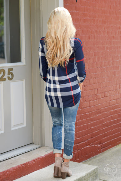 Office Hours Top - cute navy plaid top, back view, Closet Candy Boutique