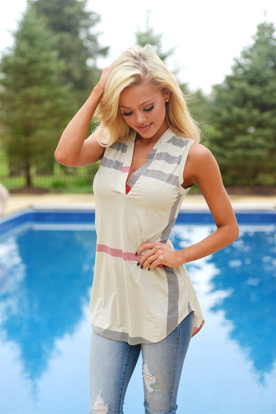 Office Hours Sleeveless Top - Ivory womens plaid shirt closet candy boutique