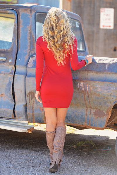 PIKO Dreams Are Forever Dress - red long sleeve fitted dress, Closet Candy Boutique 3
