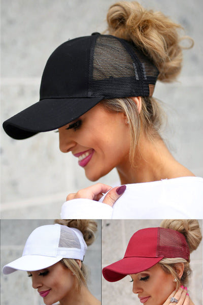 Amore Ponytail Hats - wine, black, white trendy cutout baseball cap, sheer panels, allows for top bun or high ponytail, closet candy boutique 1