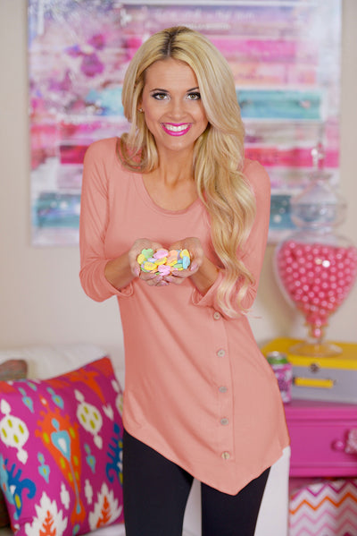 Push My Buttons Tunic - Peachy