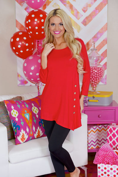 Push My Buttons Tunic - Red