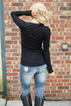 Keep It Simple Ribbed Henley Tops - solid v-neck henley top, black, Closet Candy Boutique