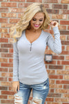 Keep It Simple Ribbed Henley Tops - solid v-neck henley top, grey, Closet Candy Boutique